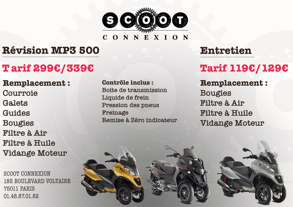 tarifs révision MP3 500 par scoot connexion