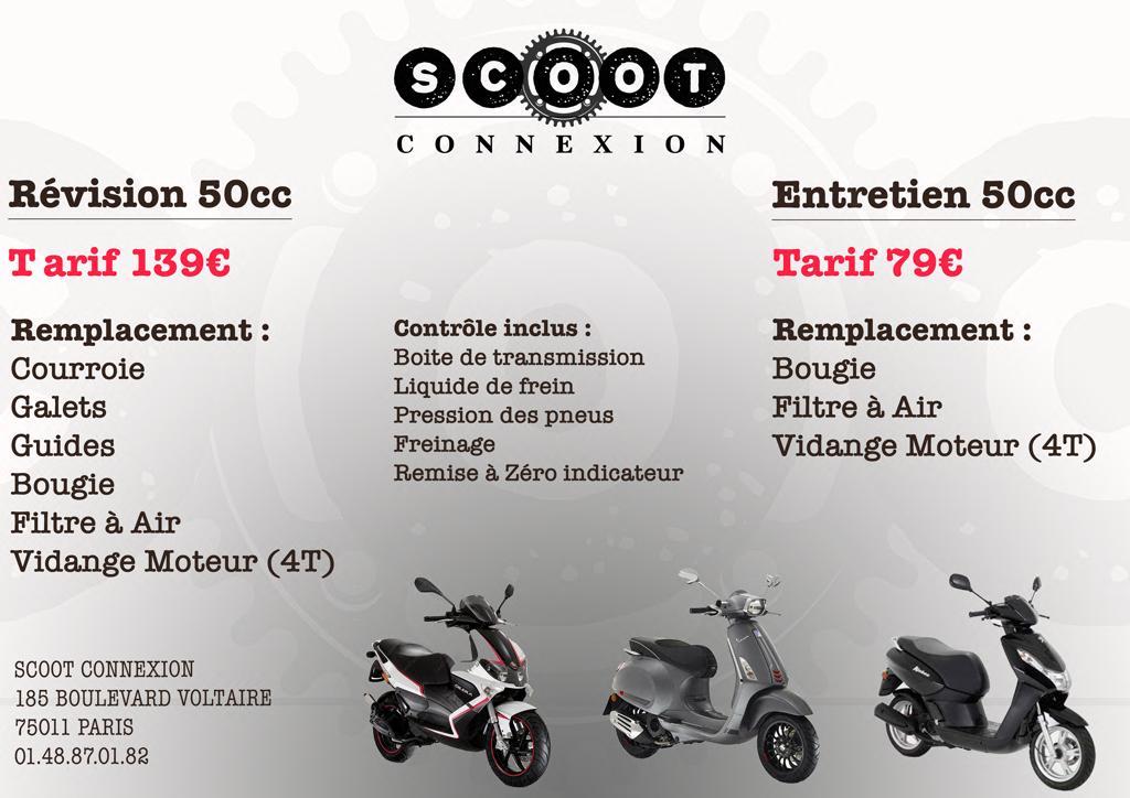 tarifs révision 50C par scoot connexion