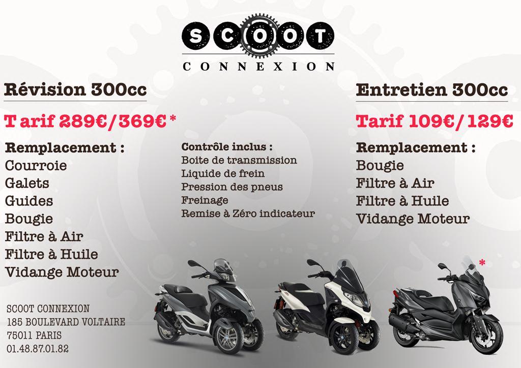 tarifs révision 300cc par scoot connexion
