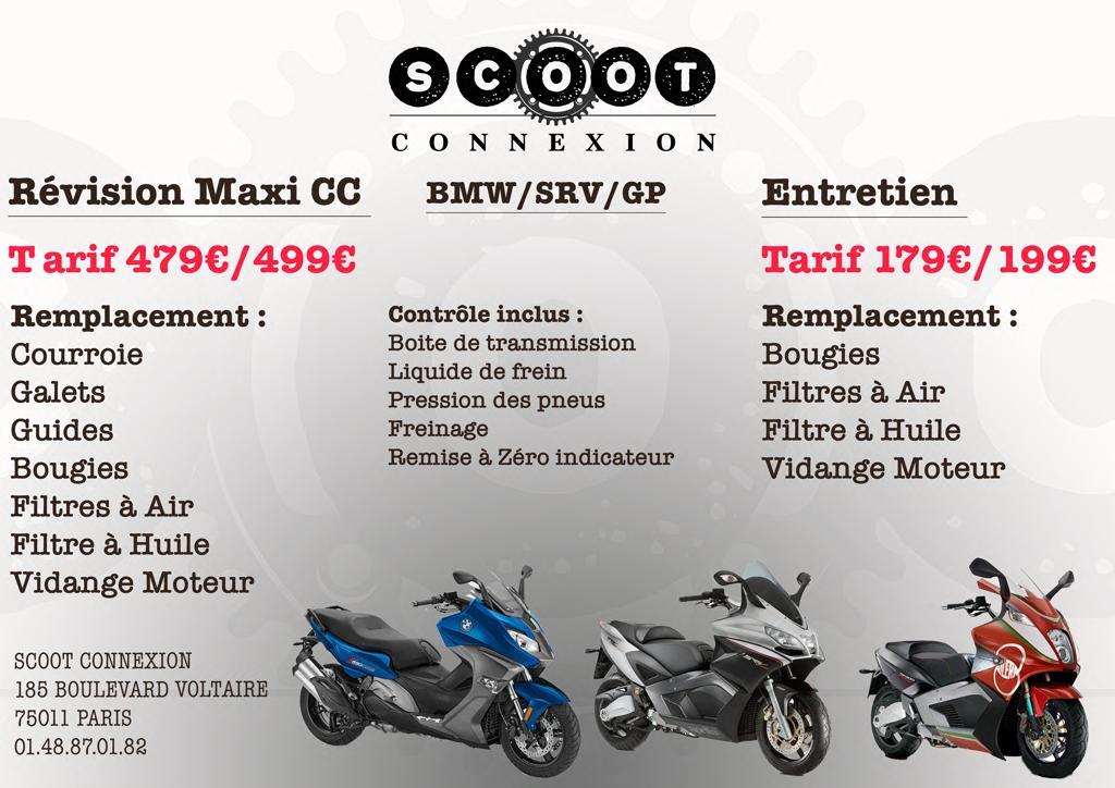 Tarifs révision maxi cc de scoot connexion